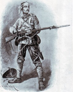 British infantryman in field uniform and equipment for the South African War by Richard Caton Woodville in 1899