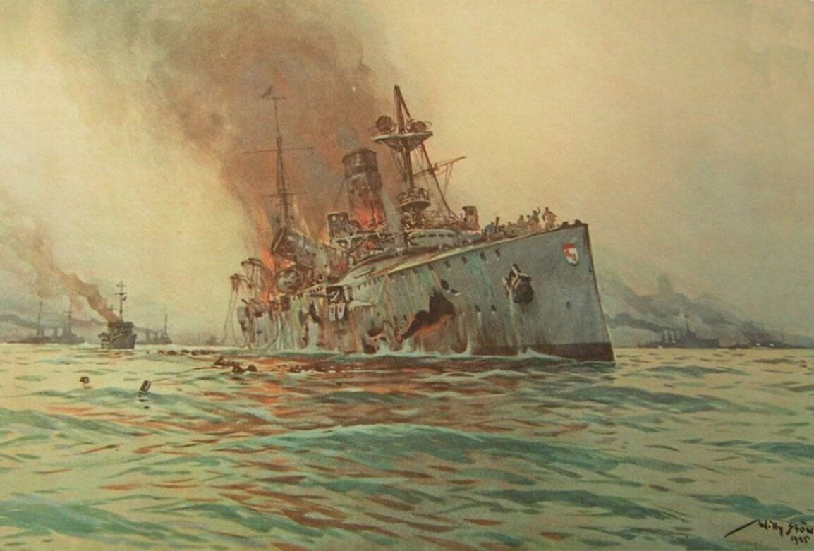 German Light Cruiser SMS Mainz sinking at the Battle of Heligoland on 28th August 1914: picture by Willie Stoewer