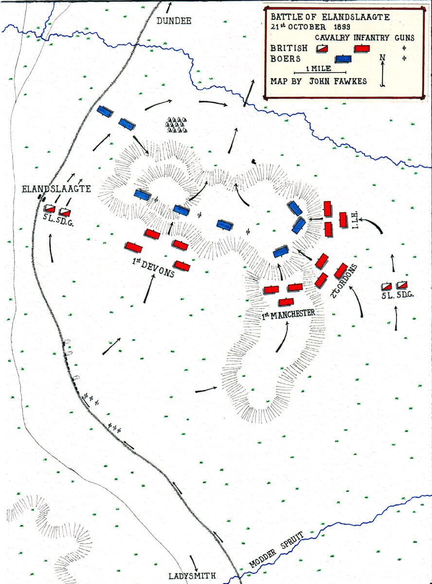 Map of the Battle of Elandslaagte on 21st October 1899 in the Boer War by John Fawkes