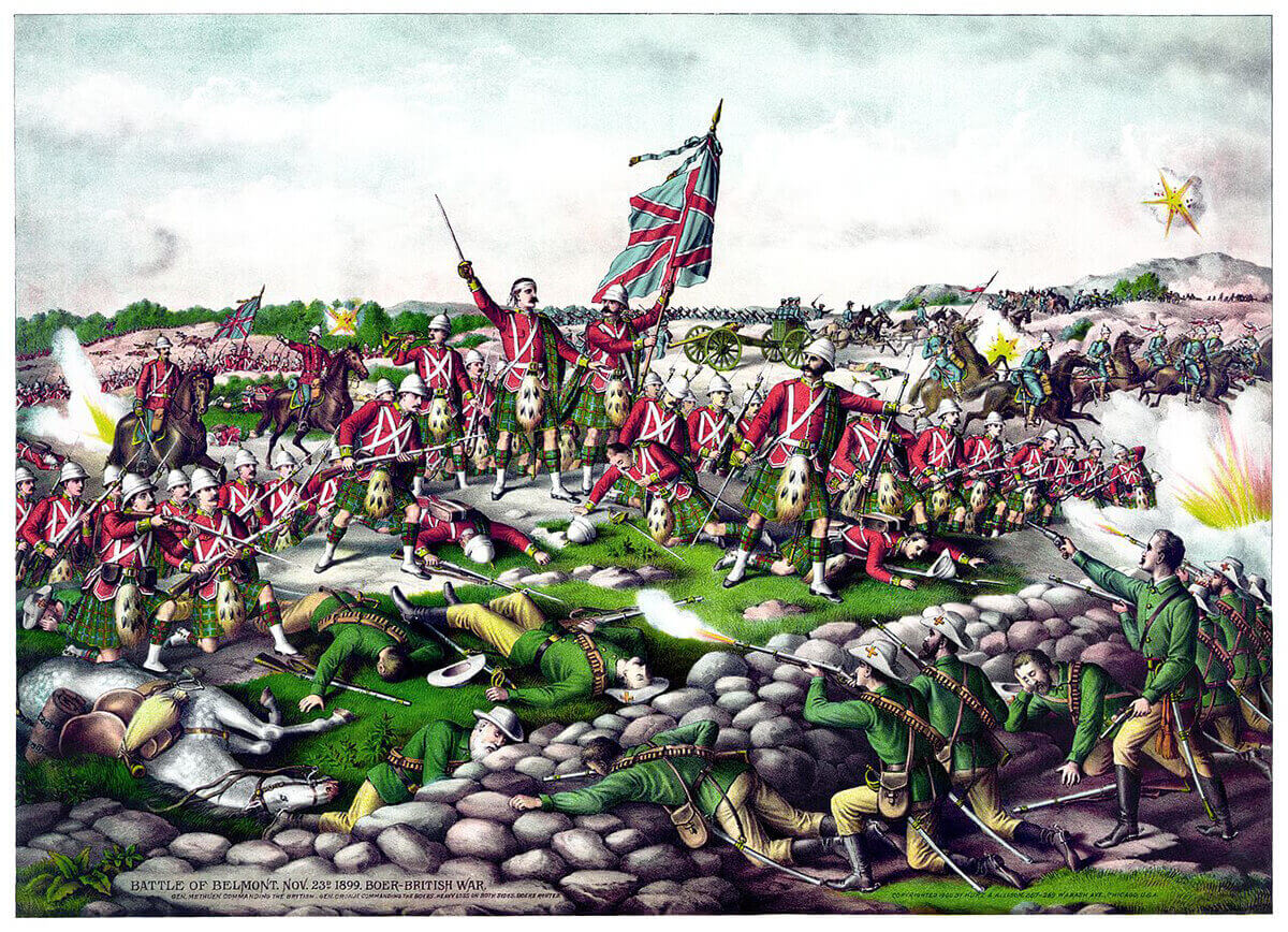 A contemporary propaganda picture of the Battle of Belmont. In fact there were no Scottish regiments present except the Scots Guards who did not wear the kilt.