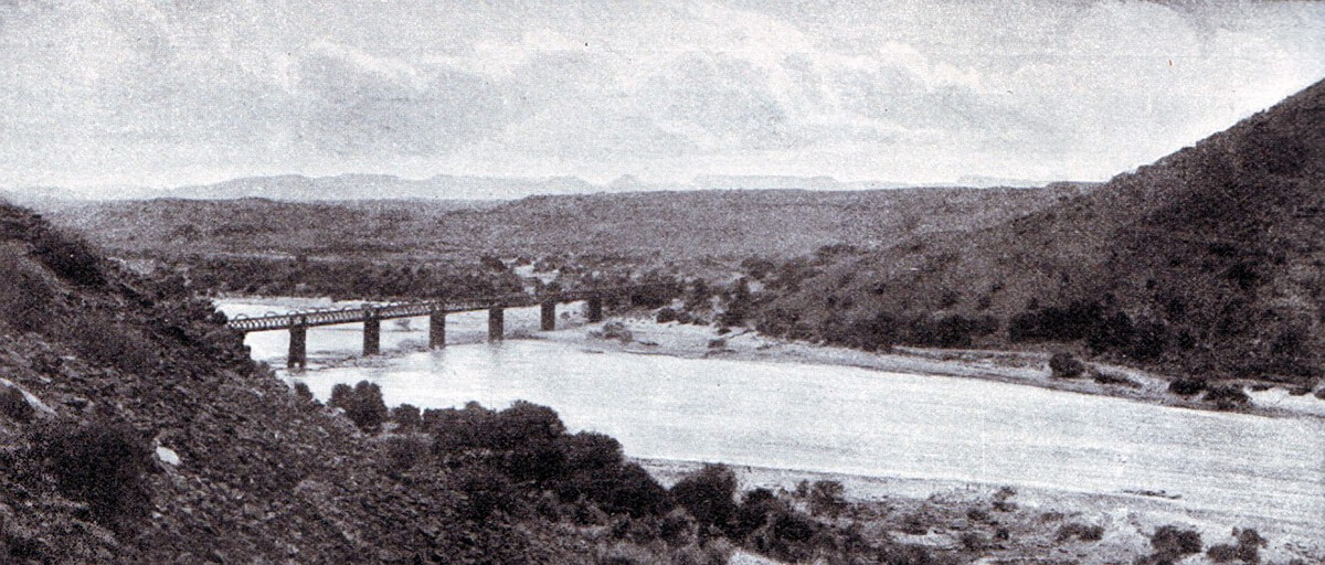 Orange River Railway Bridge where Lord Methuen's force crossed the river forming the border between Cape Colony and the Boer Orange Free State