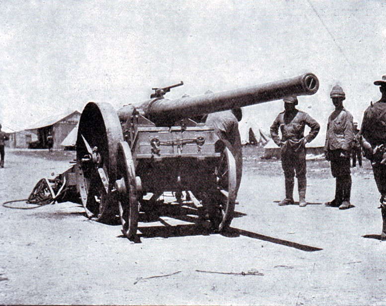 Naval 4.7 inch gun known as 'Joe Chamberlain' used at the Battle of Magersfontein on 10th and 11th December 1899