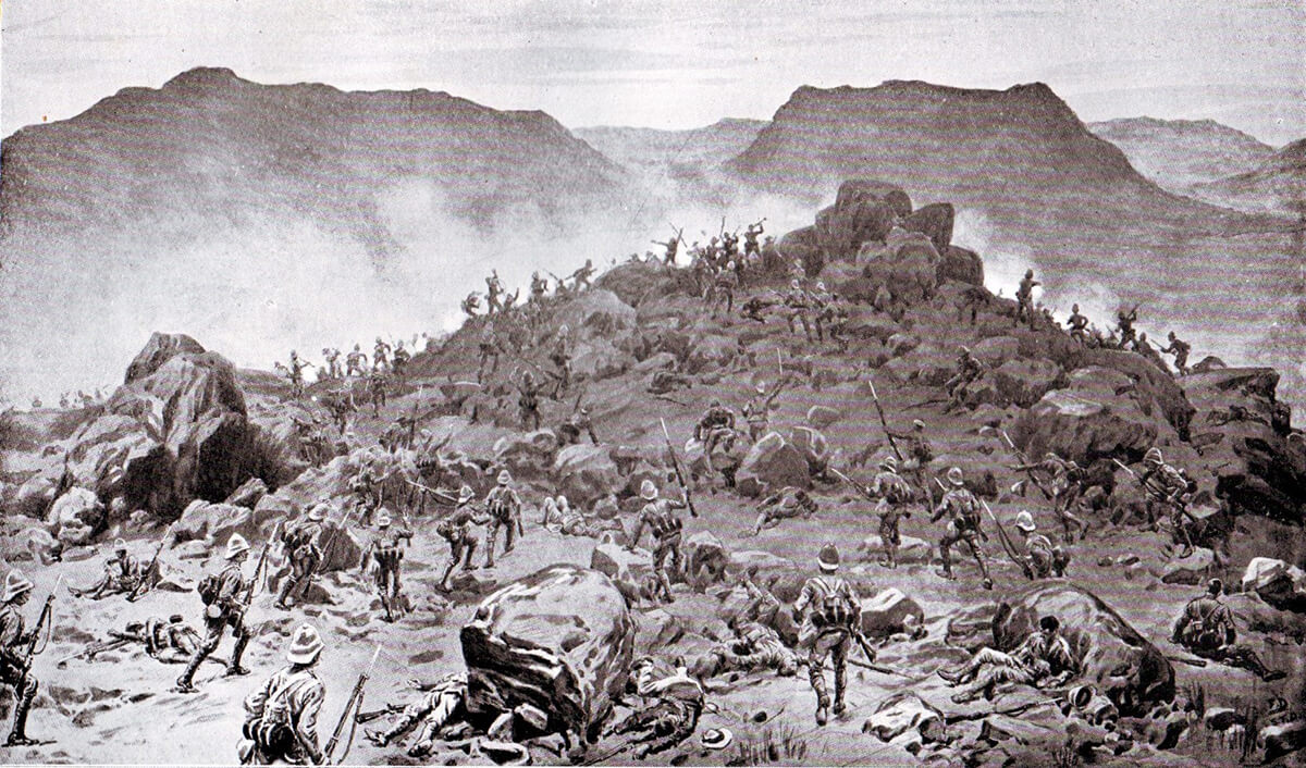 The Grenadier and Scots Guards storming the Boer positions at the Battle of Belmont on 23rd November 1899