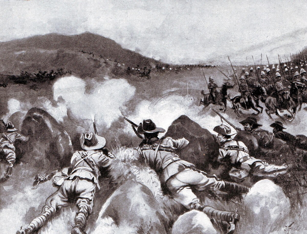 New South Wales Lancers covering the withdrawal of the 9th Lancers at the Battle of Belmont on 23rd November 1889
