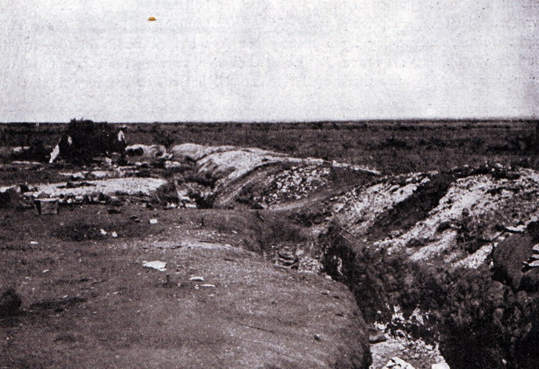 Boer trench in front of the hill line at the Battle of Magersfontein on 11th December 1899