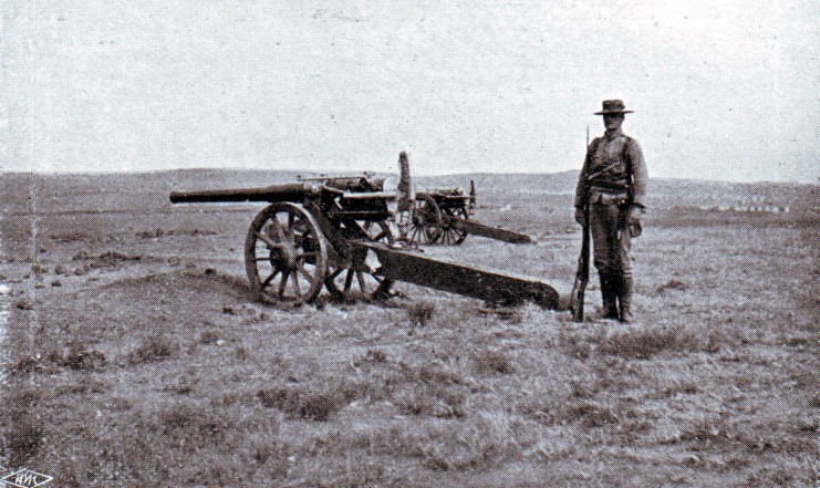 Royal Navy long 12 pounder field gun, two of which took part in the Battle of Graspan on 25th November 1899
