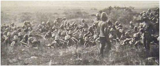 1st Gordon Highlanders awaiting orders on the morning of 11th December 1899 at the Battle of Magersfontein