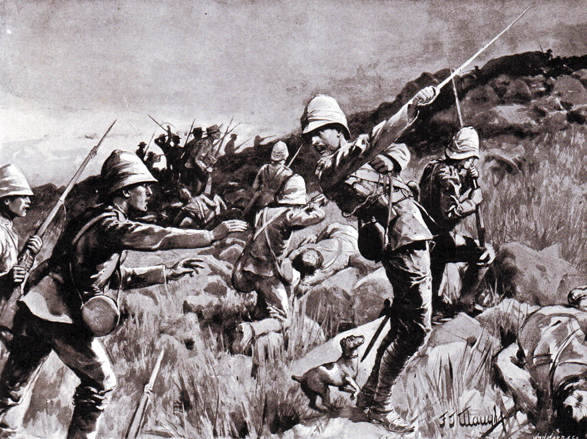 The death of Major Plumbe of the Royal Marines Light Infantry at the Battle of Graspan on 25th November 1899. His fox terrier is behind him.