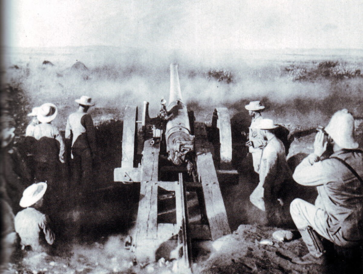 The Naval 4.7 inch gun 'Joe Chamberlain' firing at the Boers at the Battle of Magersfontein on 11th December 1899