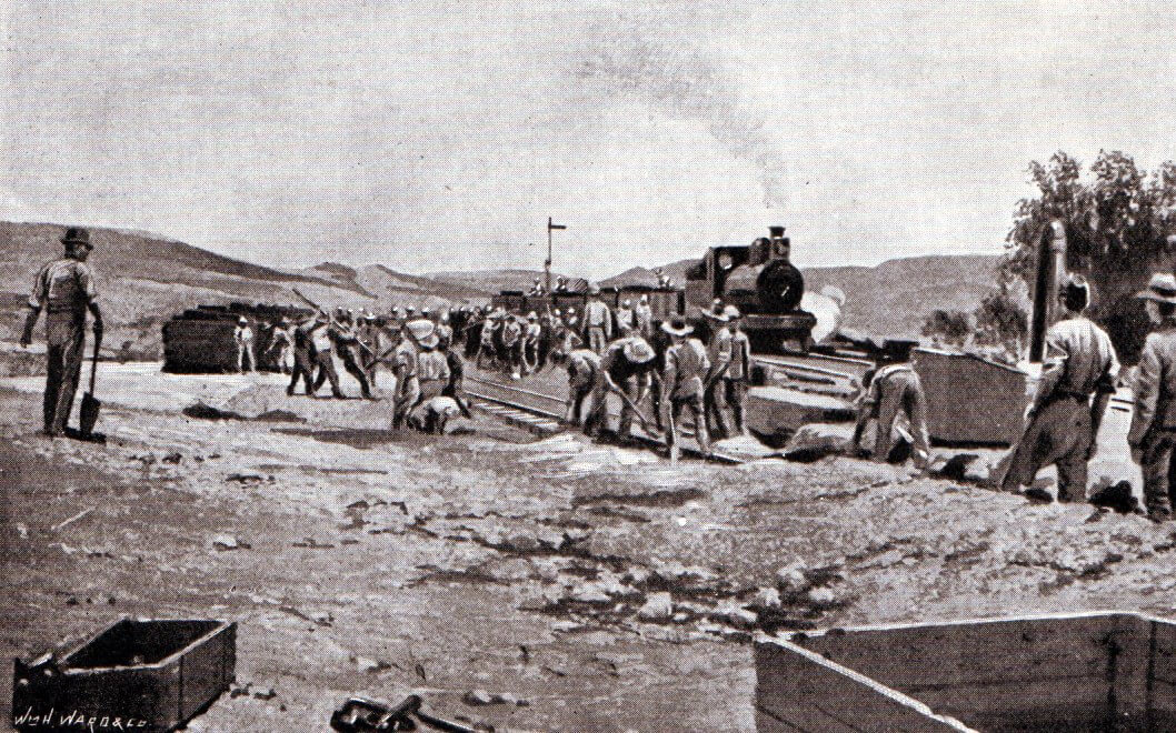Royal Engineers re-instating the railway line north of Enslin Station after the Battle of Graspan on 25th November 1899