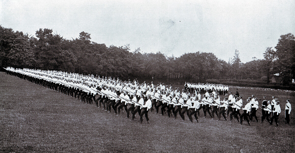 2nd Coldstream Guards at bayonet practice in Britain before leaving for South Africa in 1899