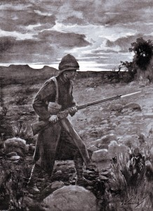 British soldier acting as a sentry in the Veldt