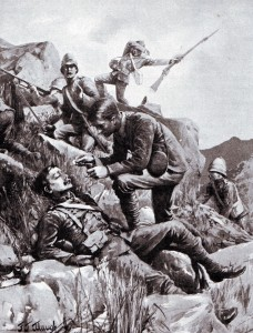 Chaplain Hill administering last rites to wounded soldiers of the 9th Brigade during the Battle of Belmont on 23rd November 1899