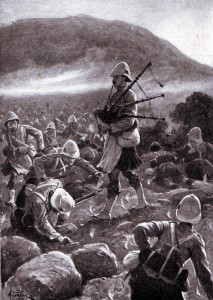 Corporal McKay of 1st Argylls rallying his comrades at the Battle of Magersfontein on 11th December 1899