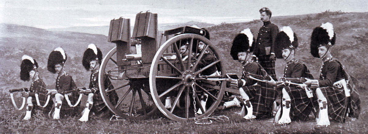 Maxim Gun detachment of 2nd Seaforths in Britain. The detachment was almost wiped out providing supporting fire to the Highland Brigade at the Battle of Magersfontein on 11th December 1899