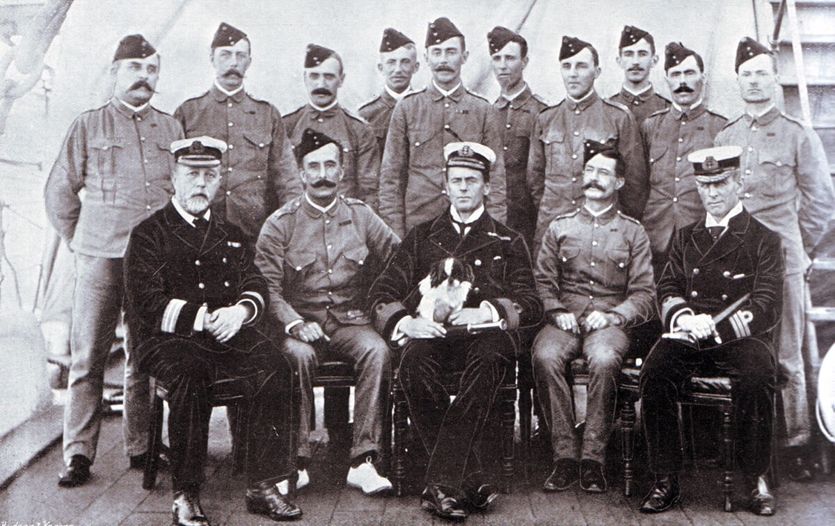 Officers of 2nd King Own Yorkshire Light Infantry on HMS Powerful en route from Mauritius to South Africa in 1889. Captain C.A.L. Yate is fourth from the left in the back row standing