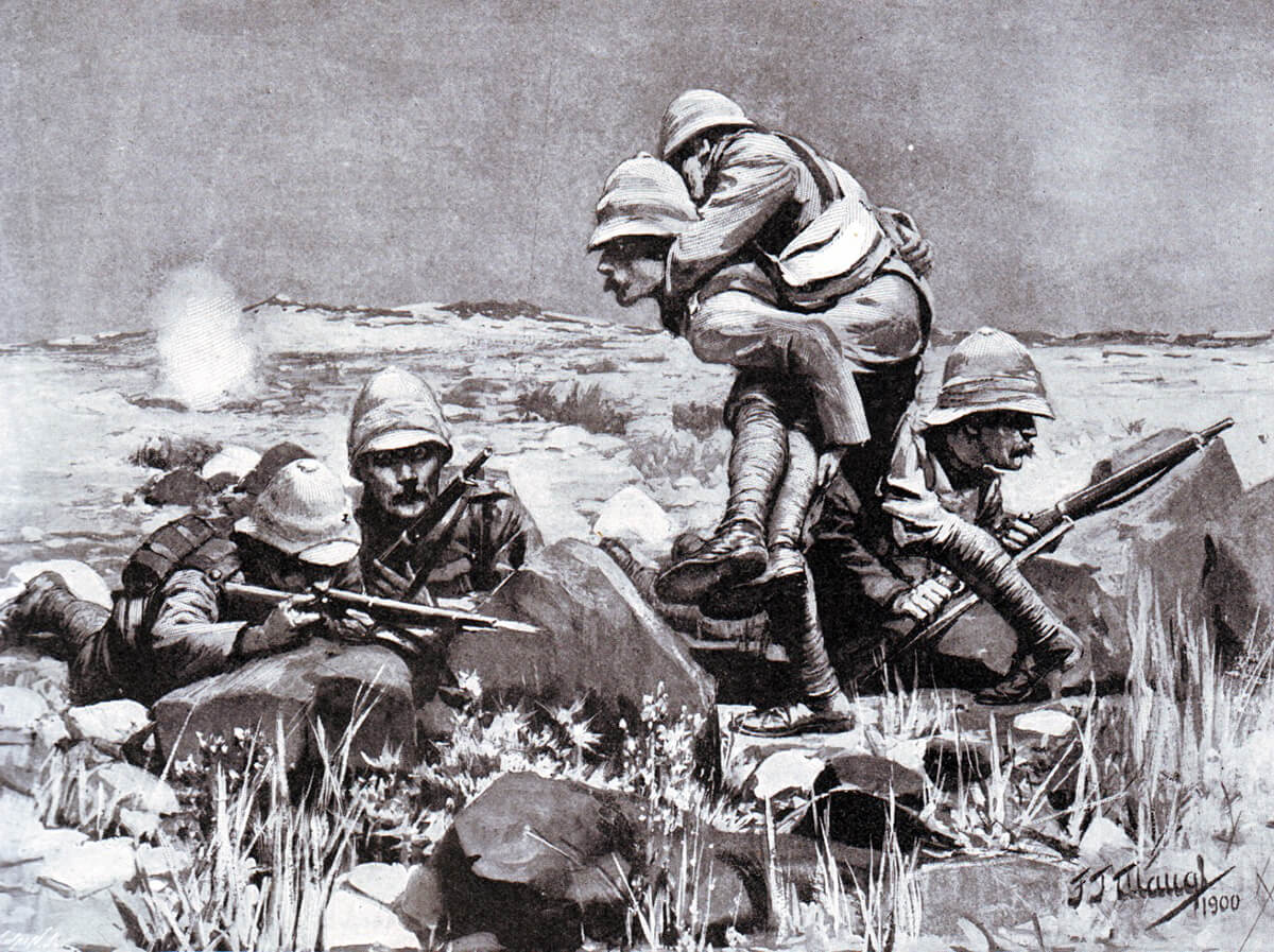 Men of the King's Own Yorkshire Light Infantry on the extreme right of the British line during the Battle of Magersfontein on 11th December 1899