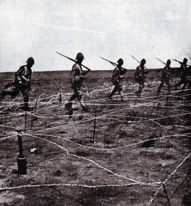 Barbed wire entanglement in front of the Boer trench at the Battle of Magersfontein on 11th December 1899 which added to the difficulties of the Highland Brigade in their attempted attack