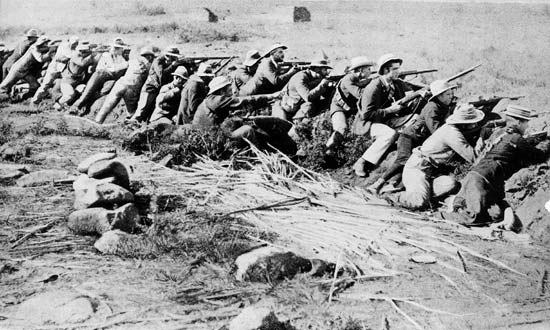 Boers lining a trench of the type used at the Battle of Magersfontein on 11th December 1899