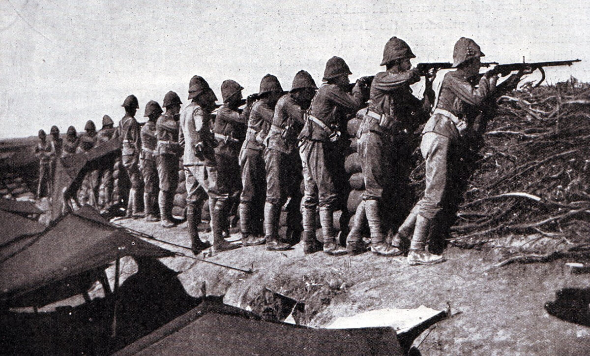 Grenadier Guards manning an emplacement at Modder River after the Battle of Magersfontein