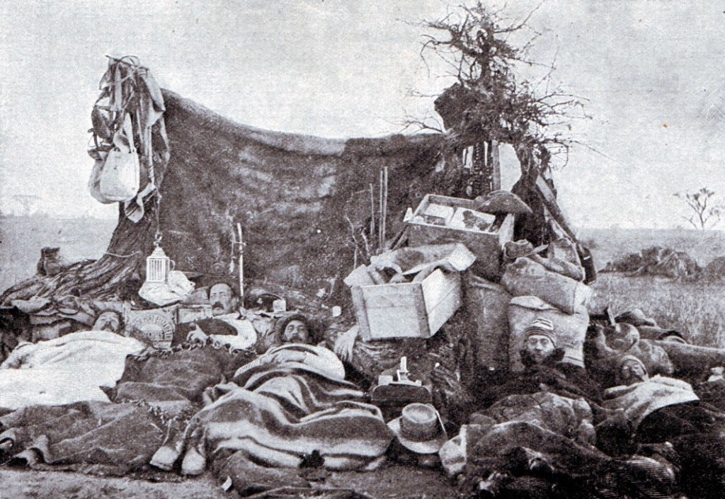 British troops camping in the Veldt during Methuen's march to relieve Kimberley