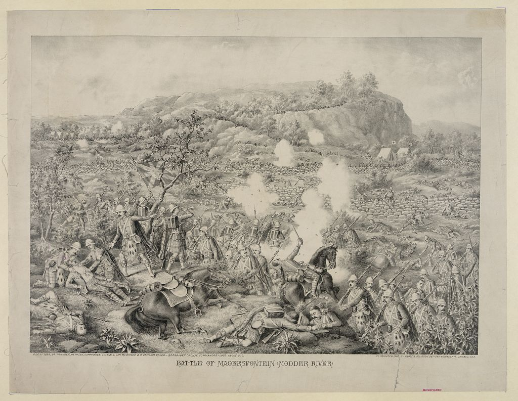 Contemporary print of the Battle of Magersfontein on 11th December 1899. To buy this picture click here.