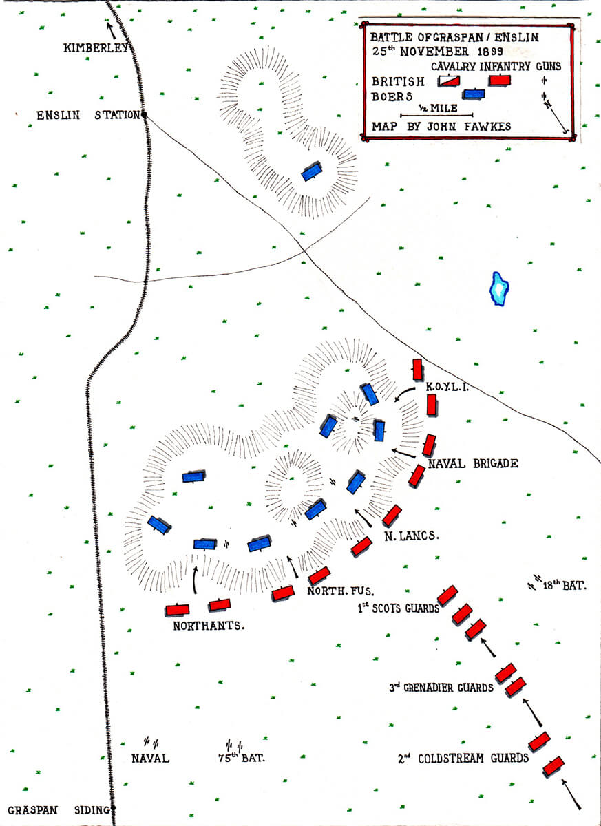 Map of the Battle of Graspan or Enslin on 25th November 1899 by John Fawkes