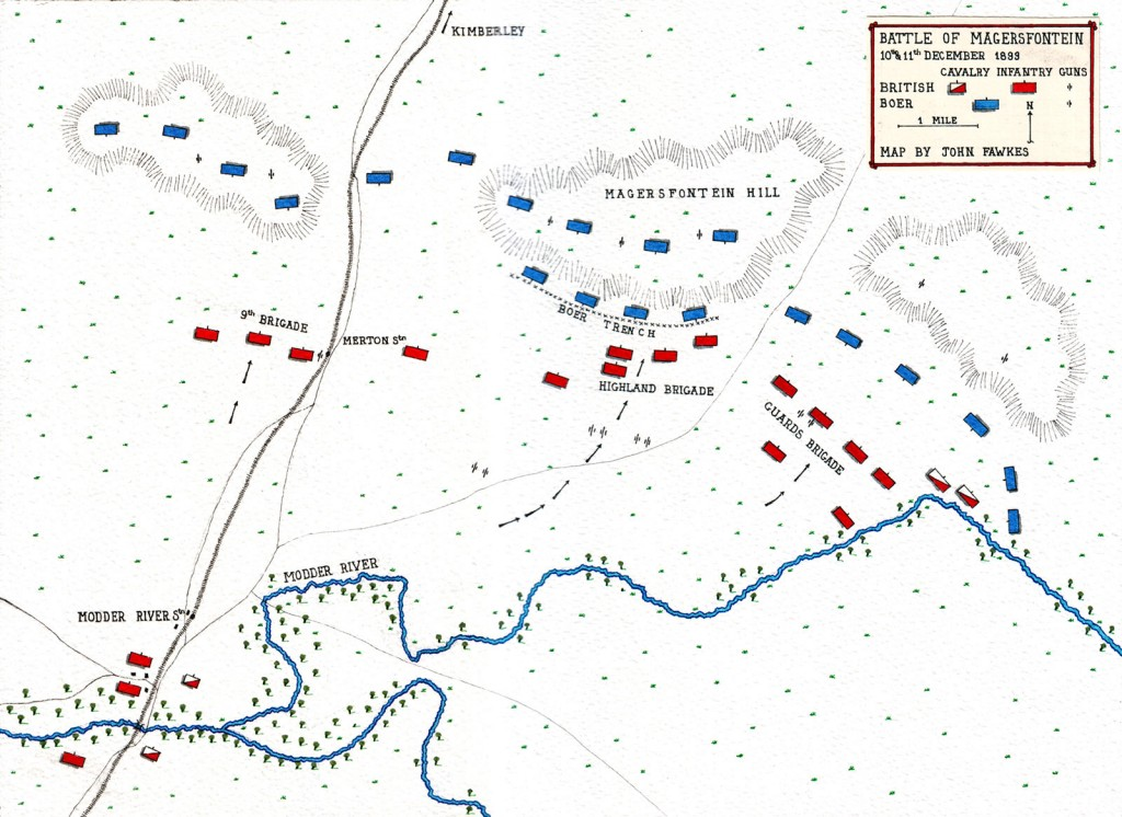 Map of the Battle of Magersfontein by John Fawkes