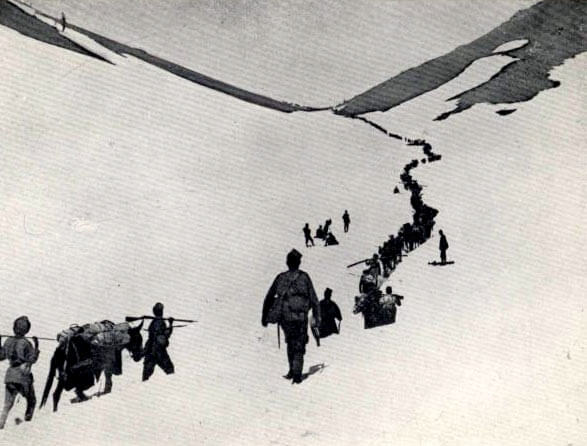 Gurkhas crossing the Lowrai Pass during General Gatacre's dash to relieve the garrison of Chitral Fort on the North-West Frontier of India in 1895