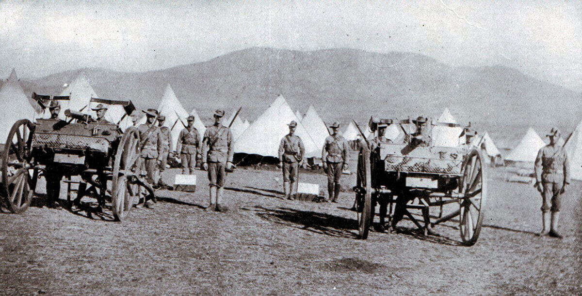 Cape Mounted Rifles with maxim machine guns at Penhoek. The railway telegraph clerk failed to send the order for the unit to join Gatacre's force for the Battle of Stormberg on 9th December 1899