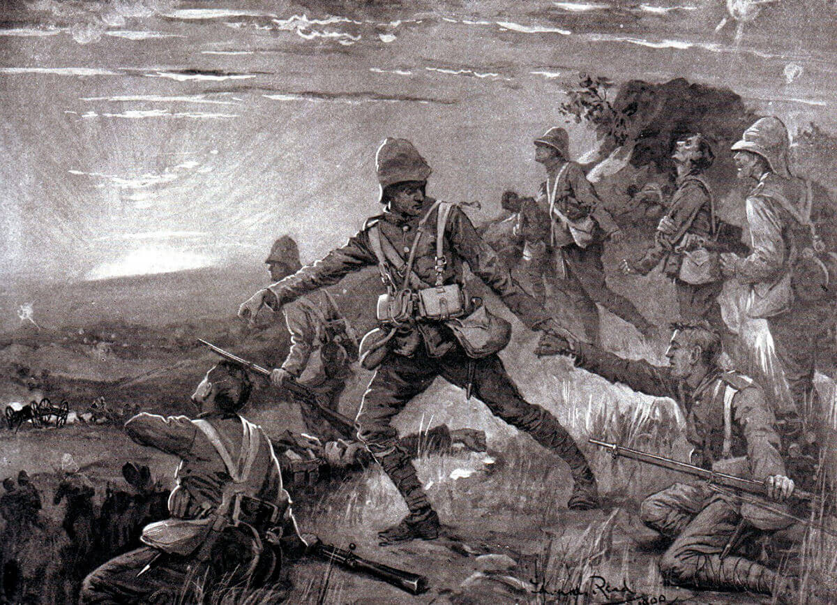 British troops recovering collapsed comrades on the road to Molteno after the Battle of Stormberg on 9th December 1899