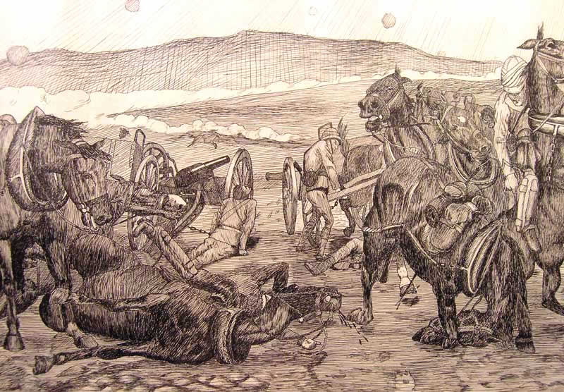14th and 66th Batteries unlimbering under Boer fire at the Battle of Colenso on 15th December 1899 during the Boer War