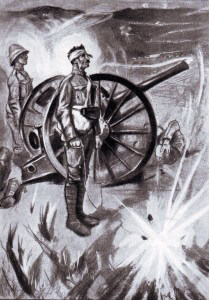 The last two gunners of 14th Battery under Boer fire at the Battle of Colenso on 15th December 1899 during the Boer War