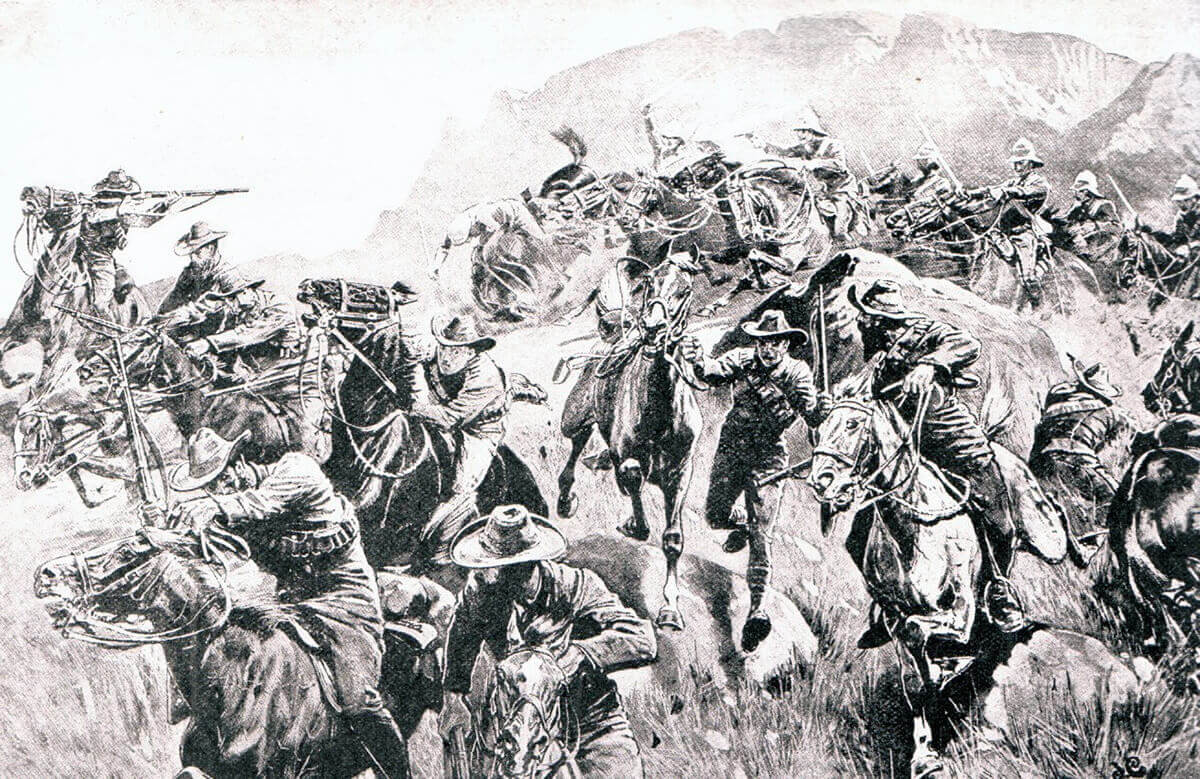 British cavalry driving in a Boer outpost in the Boer War