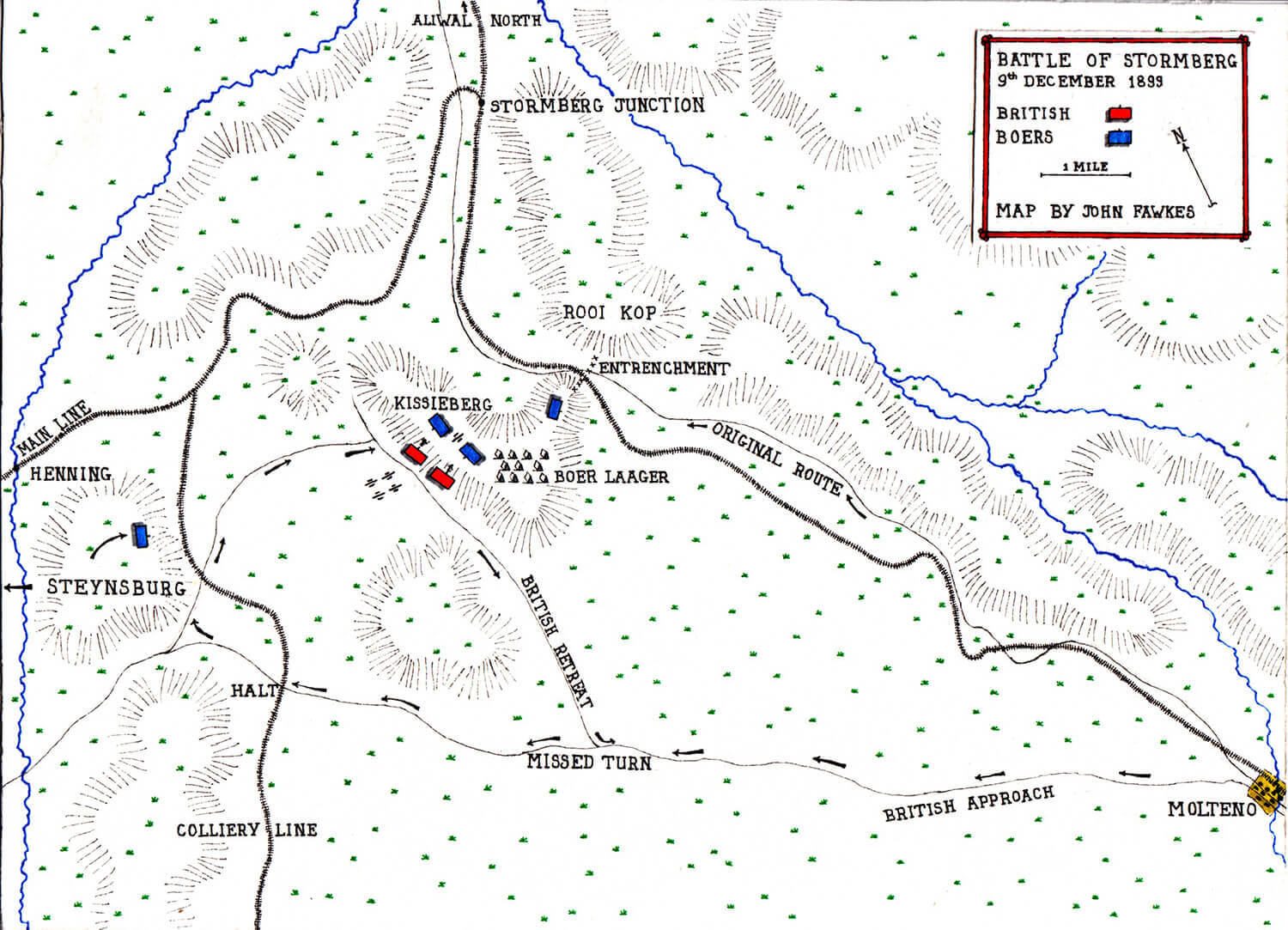 Map of the Battle of Stormberg on 9th and 10th December 1899 in the Boer War by John Fawkes