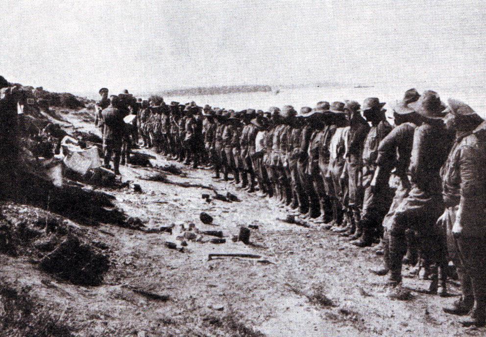Australian roll-call Anzac Cove 25th April 1915