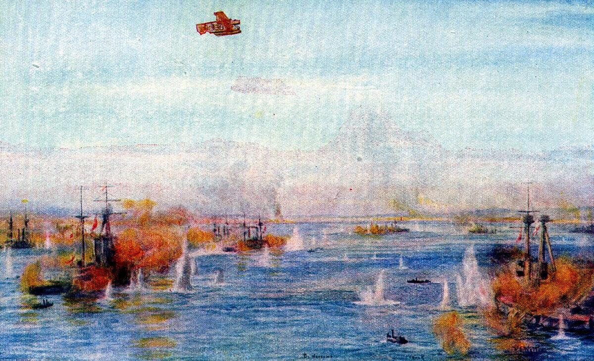 British battleships and battlecruisers bombarding the Dardanelles Narrows in March 1915: picture by Lionel Wyllie