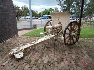 75 mm Turkish field gun at the War Memorial, Windsor, New South Wales, Australia