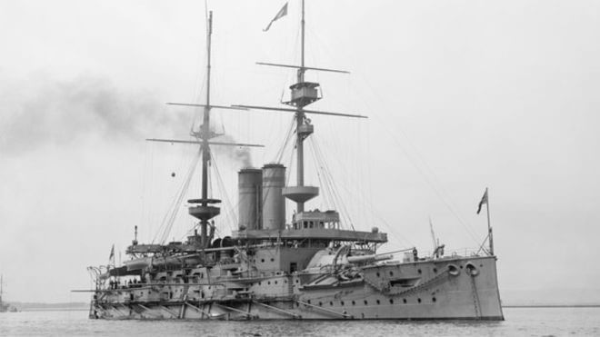 The British pre-Dreadnought battleship HMS Goliath. Goliath supported the landing on Y Beach Gallipoli on 25th April 1915