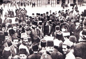 Turkish recruits reporting for service after the Ottoman Empire declared war on Britain and France