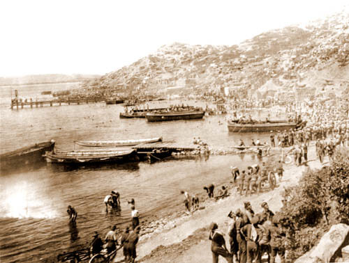 Anzac Cove showing the jetty built by Australian Engineers