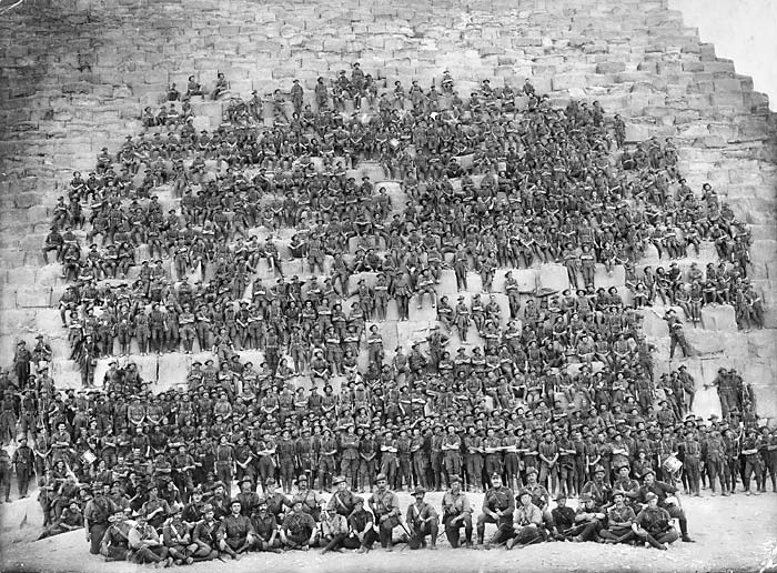Australian 11th Battalion 3rd Brigade on Cheops Pyramid in Egypt in early 1915