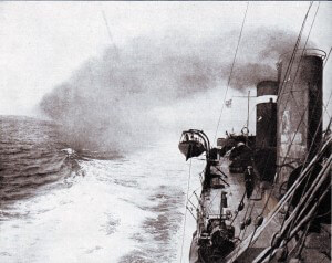 A British Destroyer in the Eastern Mediterranean in1915.  A substantial flotilla of destroyers supported the capital ships and minesweepers during the attack on the Dardanelles in March 1915 and the army operations during the rest of the year