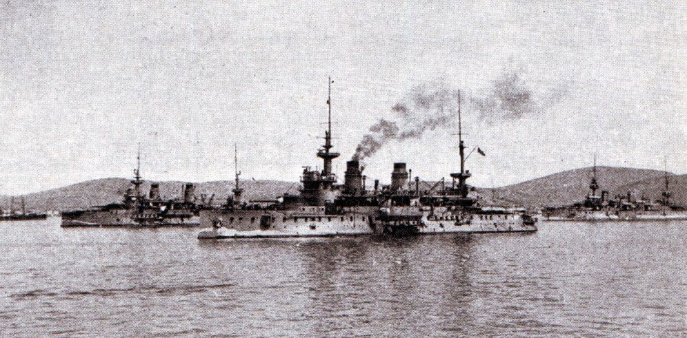 French battleships in Mudros Harbour, Lemnos in 1915: St Louis, Charlemagne and Suffren.  These ships took part in the bombardment of the Turkish defences in the Dardanelles.  Suffren suffered significant damage from Turkish gunfire on 18th March 1915