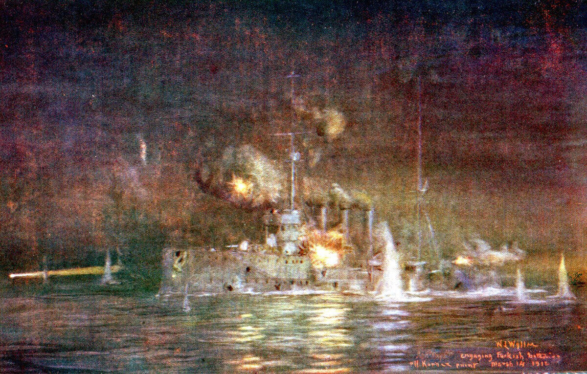 British light cruiser HMS Amethyst engaging Turkish batteries at Kephez Point on the night of 14th March 1915 in support of the mine sweeping operation: picture by Lionel Wyllie