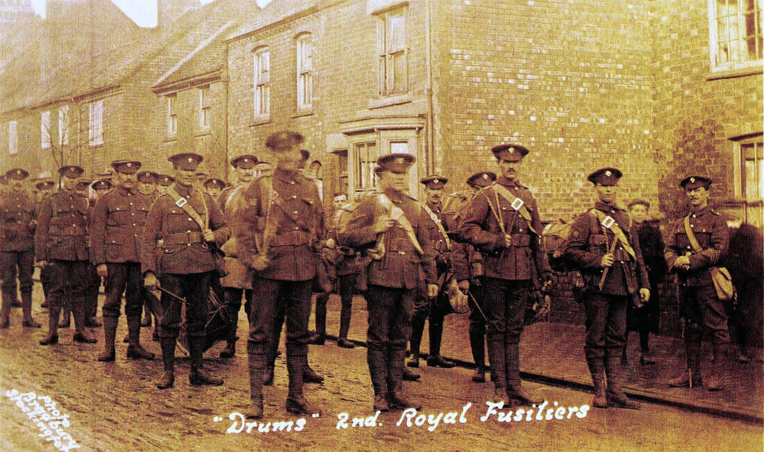 Drums of 2nd Royal Fusiliers in Stockingford Warwickshire in January 1915 before leaving for Gallipoli and landing on X Beach Cape Helles 25th April 1915