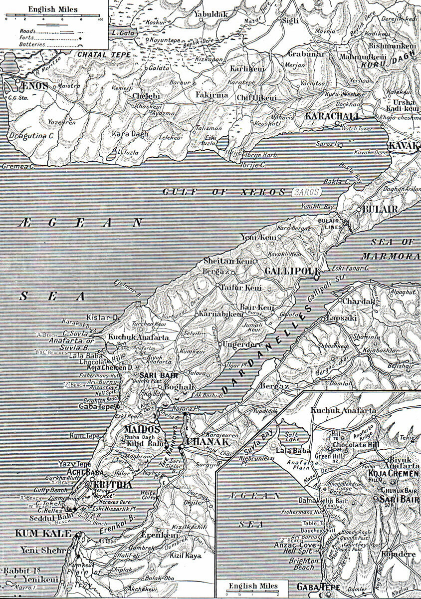Map of the Gallipoli Peninsular.  The inset shows the area of Anzac    Cove and Suvla Bay