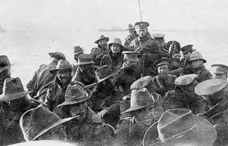 1st Australian Division Signal Company about to land at Anzac Cove on 25th April 1915