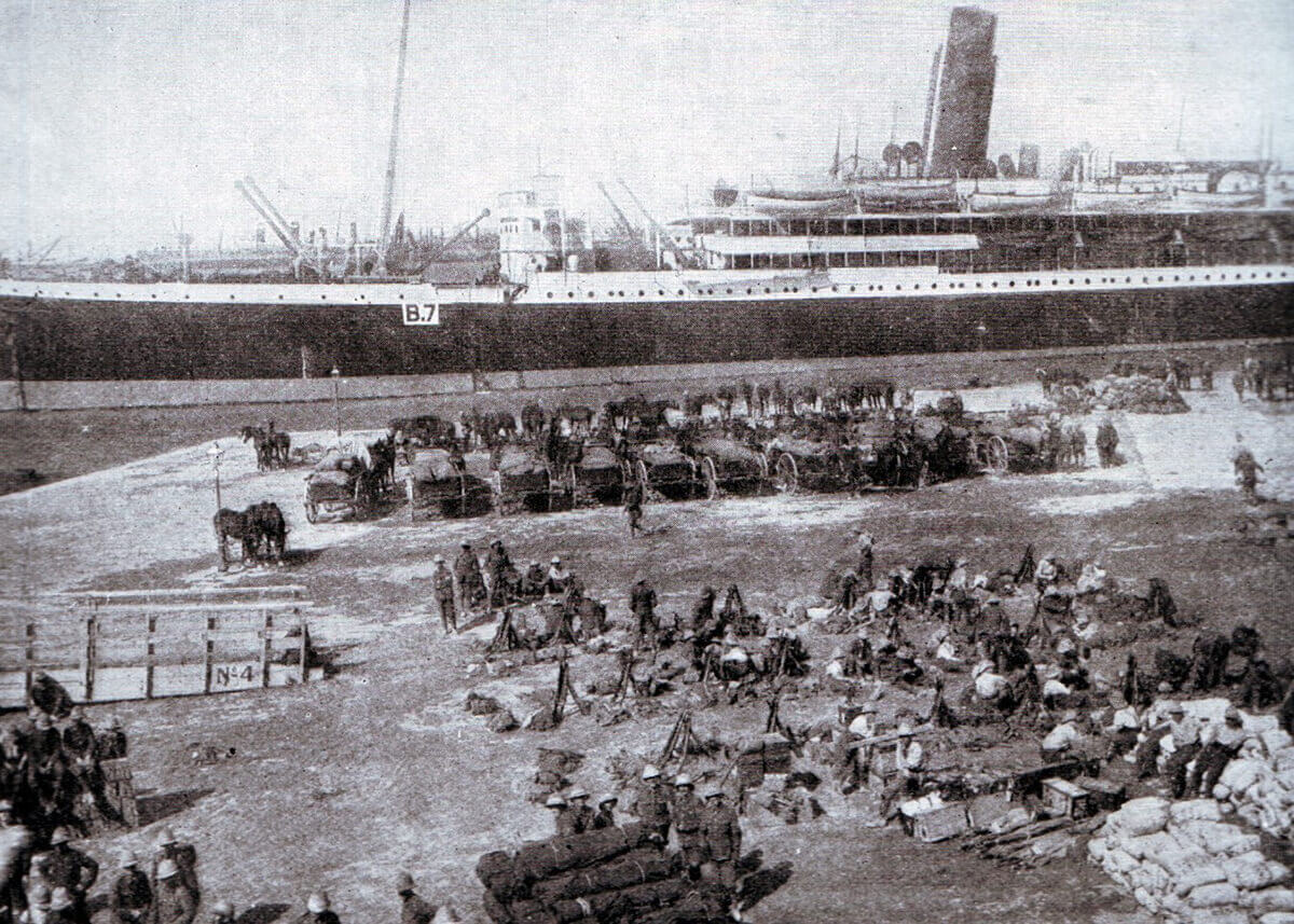 Transport B7 prepares to leave Alexandria with troops and equipment for the Gallipoli landings