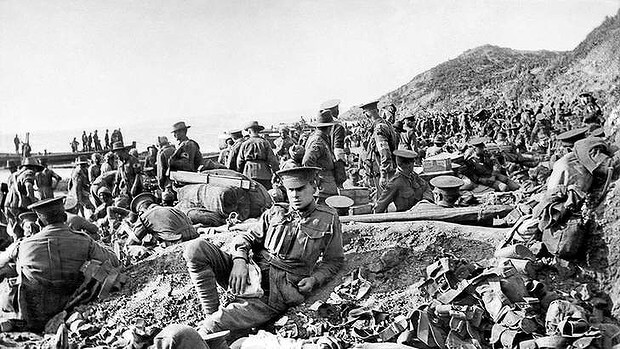 ANZAC wounded on the beach at Anzac Cove on 25th April 1915